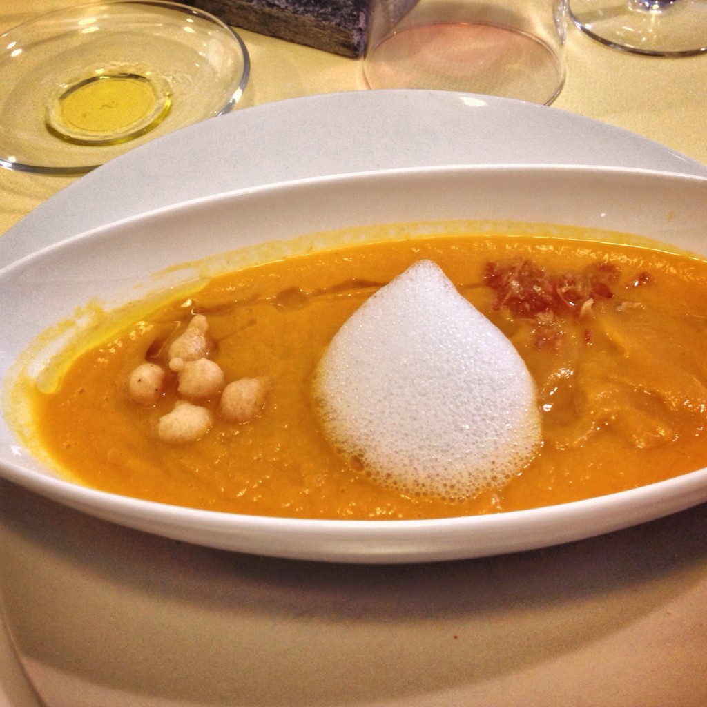 Vegan Carrot Soup with Chickpeas and Coconut Foam