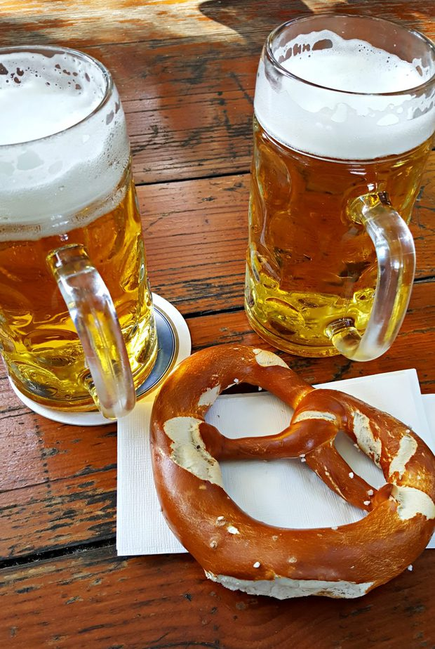 vegan beer and pretzels in Munich