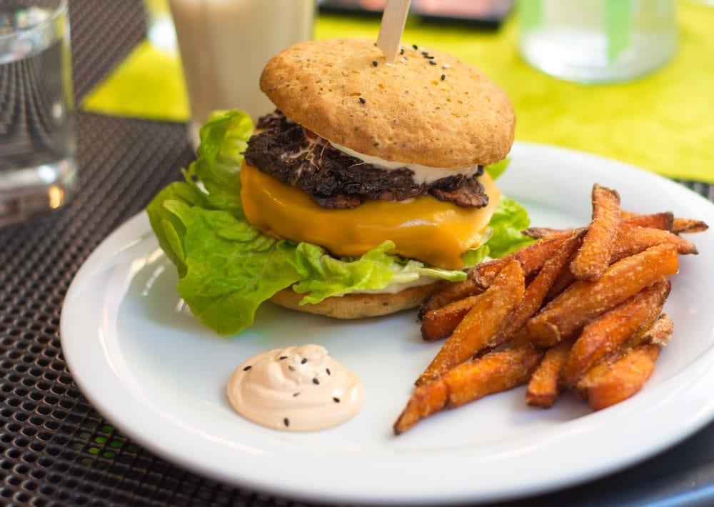 Vegan Bacon Cheeseburger at Slunce Vegan Restaurant in Ceske Budejovice Czech Republic